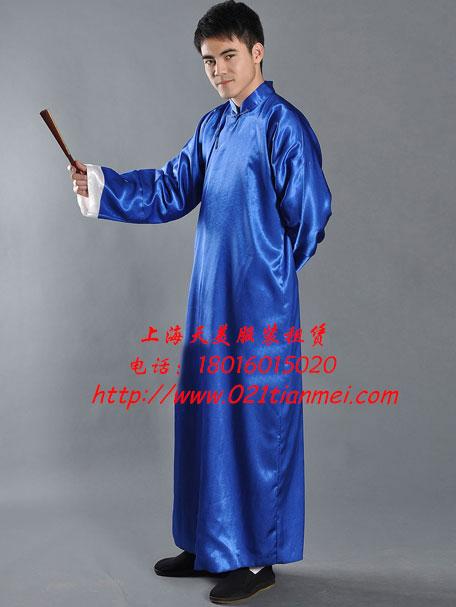 蓝色民国长衫|学生装|相声服_长衫_特殊服装租赁