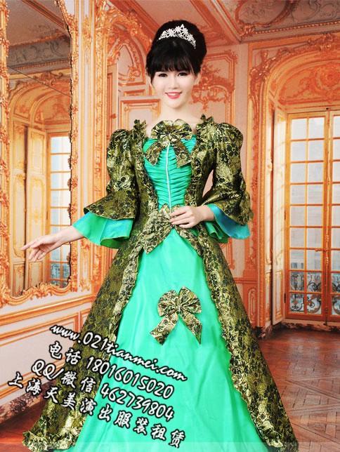 绿色女士欧洲贵族宫廷服装
